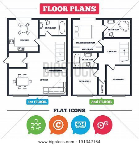 Architecture plan with furniture. House floor plan. Website database icon. Copyrights and gear signs. 404 page not found symbol. Under construction. Kitchen, lounge and bathroom. Vector