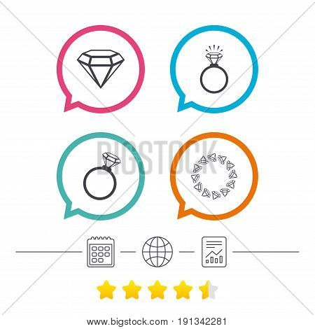 Rings icons. Jewelry with shine diamond signs. Wedding or engagement symbols. Calendar, internet globe and report linear icons. Star vote ranking. Vector