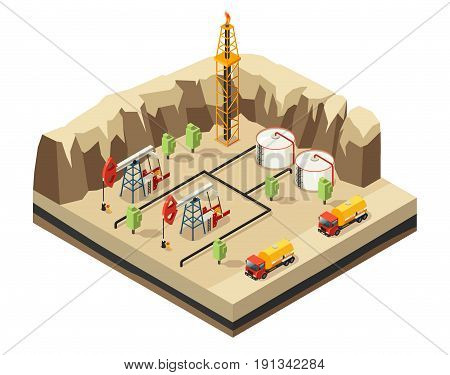 Isometric oil industry template with drilling rigs resource storage derrick trucks for transportation in desert isolated vector illustration