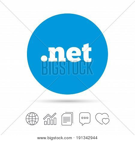 Domain NET sign icon. Top-level internet domain symbol. Copy files, chat speech bubble and chart web icons. Vector