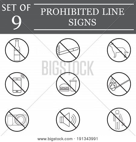 prohibited line icon set, forbidden symbols collection icons, ban vector sketches, logo illustrations, linear signs isolated on white background, eps 10.