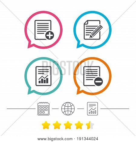 File document icons. Document with chart or graph symbol. Edit content with pencil sign. Add file. Calendar, internet globe and report linear icons. Star vote ranking. Vector