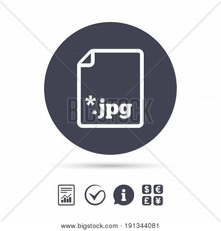 File JPG sign icon. Download image file symbol. Report document, information and check tick icons. Currency exchange. Vector