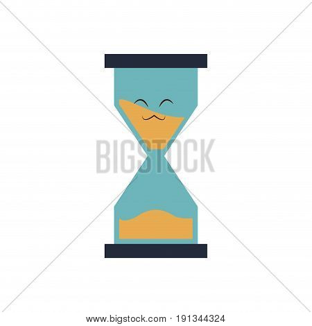 kawaii school sand clock time cartoon vector illustration