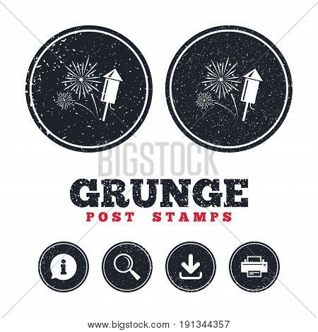 Grunge post stamps. Fireworks with rocket sign icon. Explosive pyrotechnic symbol. Information, download and printer signs. Aged texture web buttons. Vector