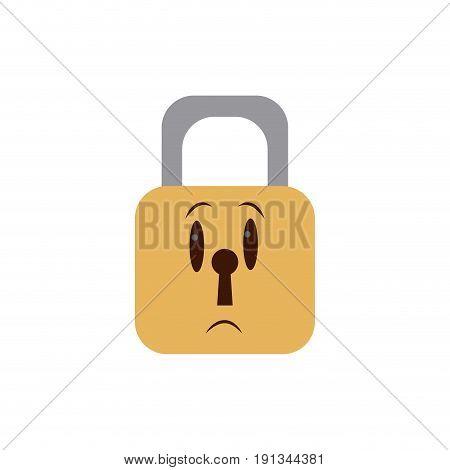 kawaii padlock security close privacy cartoon vector illustration
