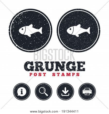 Grunge post stamps. Fish sign icon. Fishing symbol. Information, download and printer signs. Aged texture web buttons. Vector