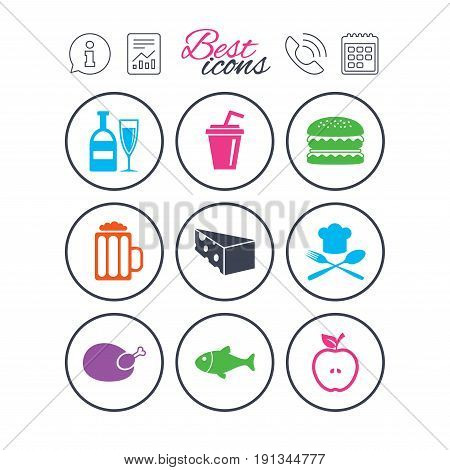 Information, report and calendar signs. Food, drink icons. Beer, fish and burger signs. Chicken, cheese and apple symbols. Phone call symbol. Classic simple flat web icons. Vector