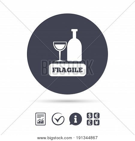 Fragile parcel sign icon. Delicate package delivery symbol. Report document, information and check tick icons. Currency exchange. Vector