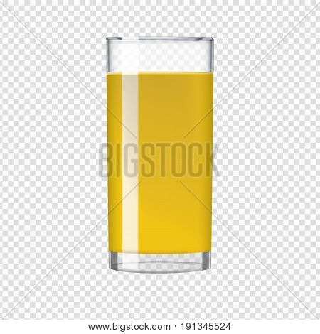 Organic tropical Orange juice in a transparent glass. Healthy diet food concept. Transparent realistic vector illustration.