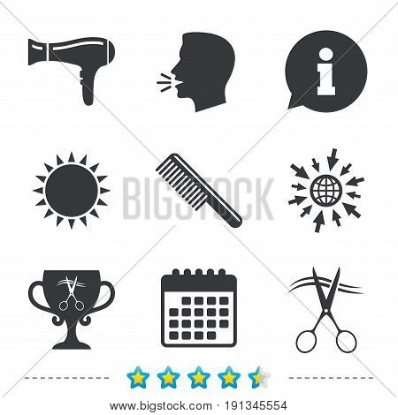 Hairdresser icons. Scissors cut hair symbol. Comb hair with hairdryer symbol. Barbershop winner award cup. Information, go to web and calendar icons. Sun and loud speak symbol. Vector