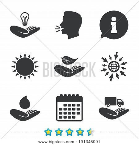 Helping hands icons. Intellectual property insurance symbol. Delivery truck sign. Save nature leaf and water drop. Information, go to web and calendar icons. Sun and loud speak symbol. Vector