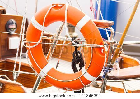 Parts And Detail Of Yacht, Orange Lifebuoy On Sailboat, Safety Travel Concept