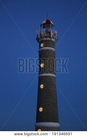 Famouse lighthouse in Jose Ignacio near Punta del Este, Atlantic Coast, Uruguay