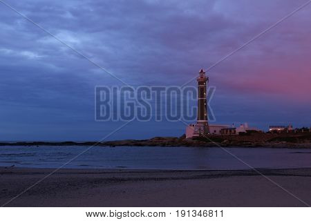 Famouse lighthouse in Jose Ignacio near Punta del Este, Atlantic Coast, Uruguay