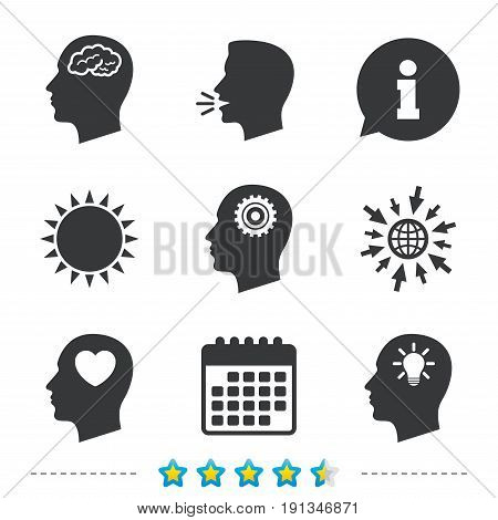 Head with brain and idea lamp bulb icons. Male human think symbols. Cogwheel gears signs. Love heart. Information, go to web and calendar icons. Sun and loud speak symbol. Vector