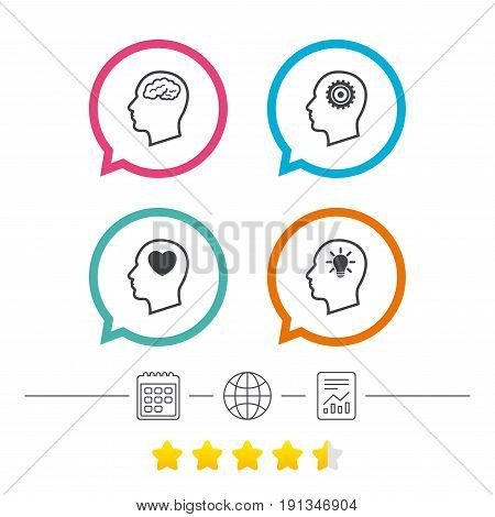 Head with brain and idea lamp bulb icons. Male human think symbols. Cogwheel gears signs. Love heart. Calendar, internet globe and report linear icons. Star vote ranking. Vector