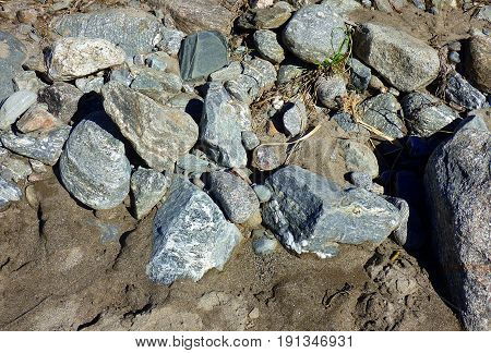 Rocks over the sand. Geology and mineral. Nature