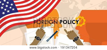 America US foreign policy diplomacy international relations between country in the world concept vector