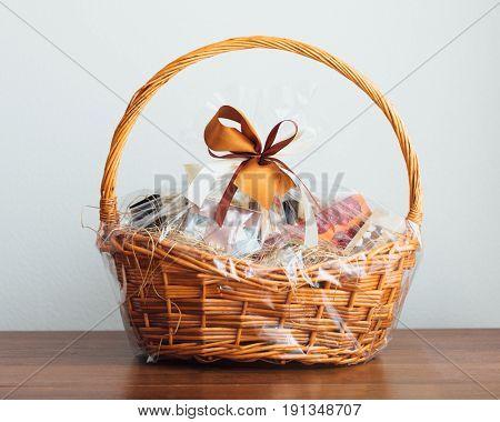 gift basket on grey background