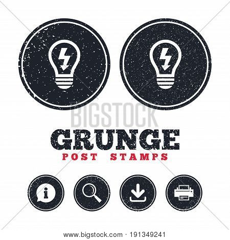 Grunge post stamps. Light lamp sign icon. Bulb with lightning symbol. Idea symbol. Information, download and printer signs. Aged texture web buttons. Vector