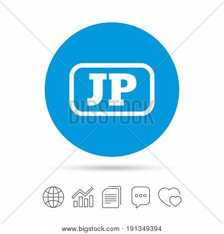 Japanese language sign icon. JP Japan translation symbol with frame. Copy files, chat speech bubble and chart web icons. Vector