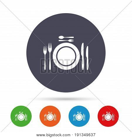 Plate dish with forks and knifes. Dessert trident fork with teaspoon. Eat sign icon. Cutlery etiquette rules symbol. Round colourful buttons with flat icons. Vector