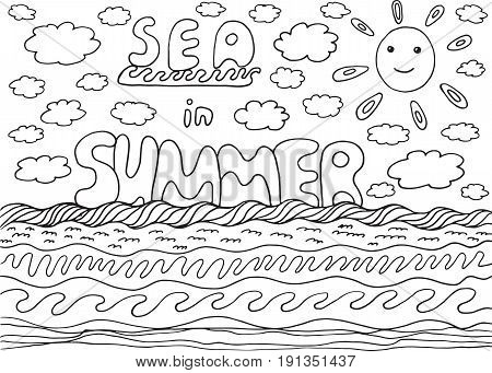 Coloring page with sea and summer words. Hand drawn black and white ilustration for adult coloring book design and tshirt.