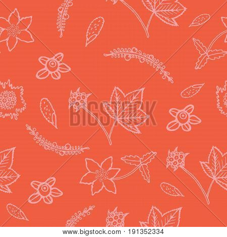 Hand drawn seamless pattern with blueberry cloudberry cowberry and crowberry. Vector background art for textile and design.