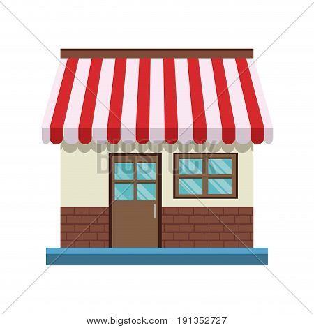 store front door and windows facade shop vector illustration