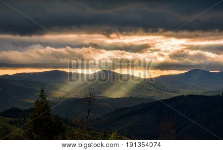 Carpathian Valley At Cloudy Sunset