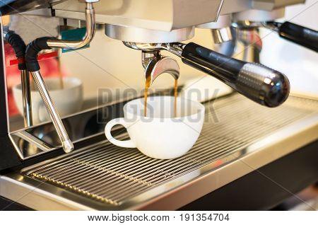 Coffee machine making coffee in pub, bar, restaurant,Coffee machine,coffee espresso in coffee shop