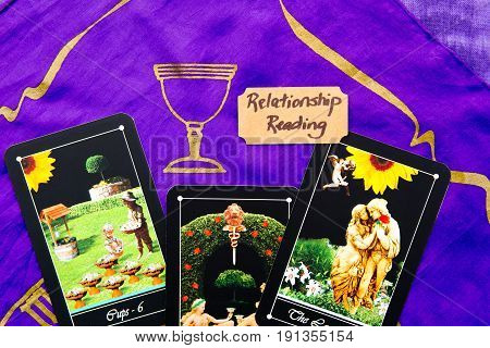 Tarot Deck - Relationship Tarot Readings On Purple Silk Reading Cloth
