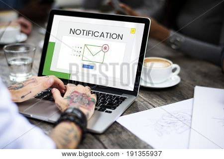 People using device for working with communication email icon