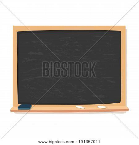 Blank black blackboard, chalk, and eraser vector illustration isolated on white background.