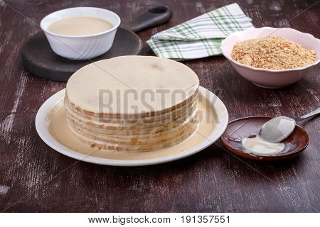 Making or cooking cake Billet for cake Cake impregnation Homemade dessert