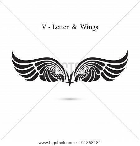 V-letter sign and angel wings.Monogram wing logo mockup.Classic emblem.Elegant dynamic alphabet letters with wings.Creative design element.Corporate branding identity.Flat web design wings icon.Vector illustration.