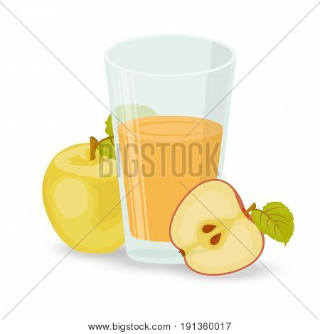 A glass of Apple juice. Apple half. Bulk Apple. Glass Cup. Shadow. A set of elements. Isolated white background. Stock vector.