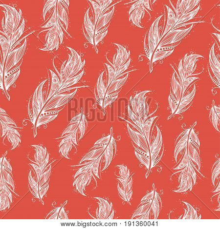 seamless pattern with white feathers on red background