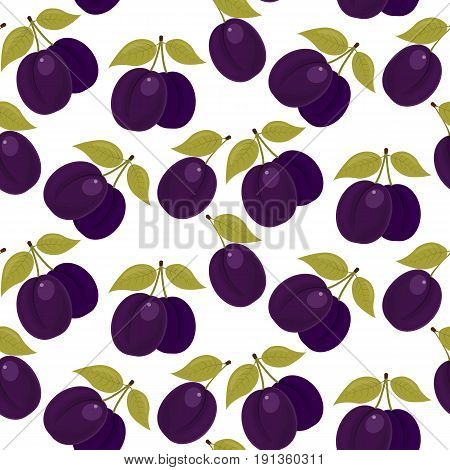 A ripe plum. Seamless fabric. Isolated white background. Stock vector.