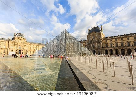 Paris France - May 29 2017: The Louvre Museum (The Grand Louvre) in Paris is one of the world's largest museums and a historic monument. Paris France.