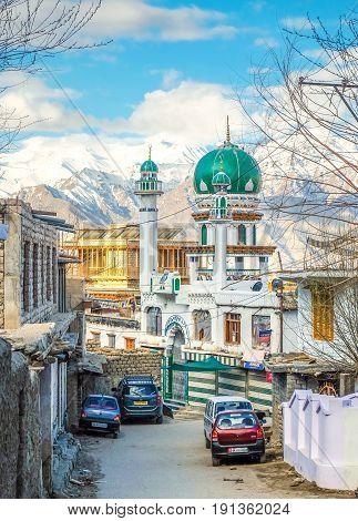 Leh India - April 28 2017 : Masjid near Main Bazaar in Leh Ladakh Jammu India