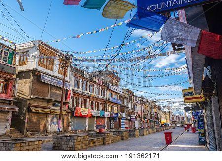 Leh India - April 28 2017 : Leh city Walking street with colorful holy prayer flag at Main Bazaar in Leh Ladakh Jammu India