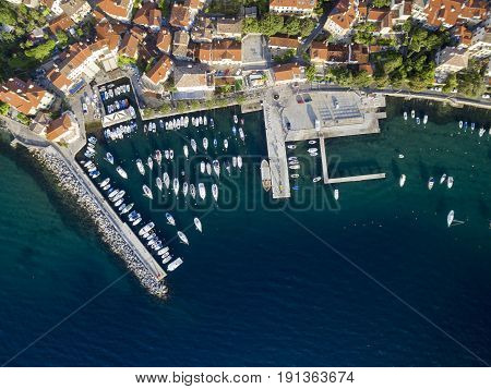 Aerial View of Mediterranean sea in Opatija Croatia