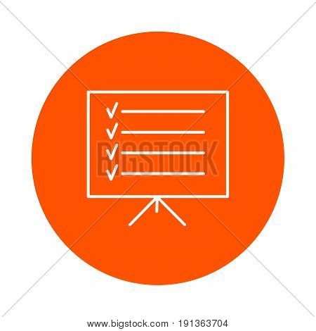 Stand with information on the rack vector monochrome round line icon for your site or booklet flat style
