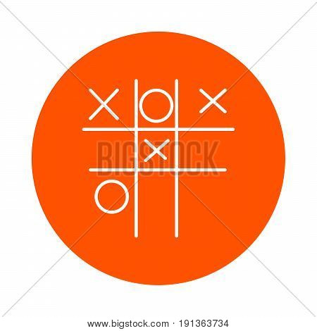 Children's game - Tic-tac-toe vector monochrome round line icon for your website or booklet flat style