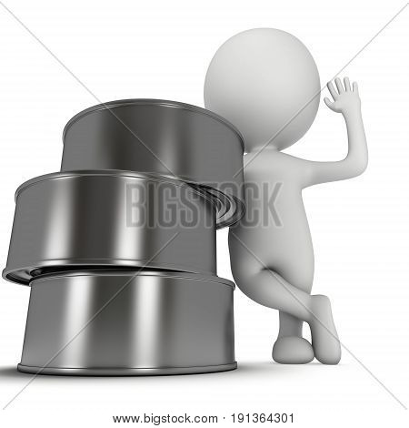 Man stand near aluminum cans. 3D render of metal canned food isolated on white.