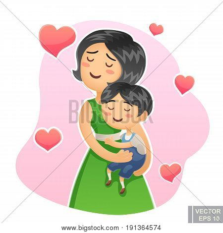 Cartoon Vector Happy Family Mother Holding Her Child Mom Care Love Her Little Kid Hug