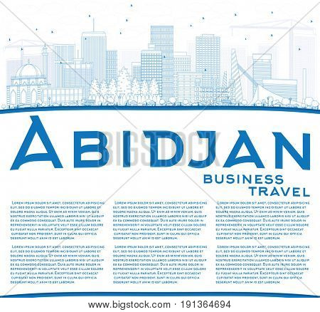 Outline Abidjan Skyline with Blue Buildings and Copy Space. Business Travel and Tourism Concept with Modern Architecture. Image for Presentation Banner Placard and Web Site.