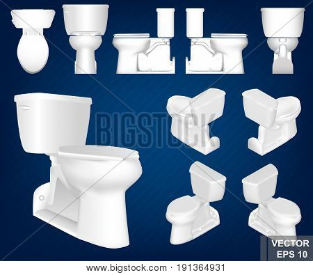 A Set Of Toilet Bowls From Different Sides. Realistic. White. Interior. For Your Design.